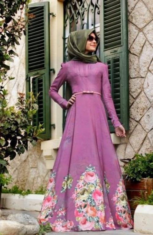 صورة فساتين تركية للمحجبات , فستان سهرة تركى