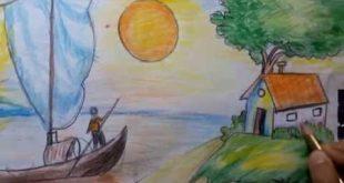 رسم منظر طبيعي سهل للاطفال , تعلم الرسم للاطفال