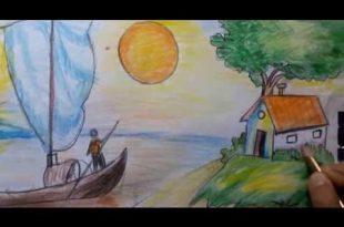 صور رسم منظر طبيعي سهل للاطفال , تعلم الرسم للاطفال