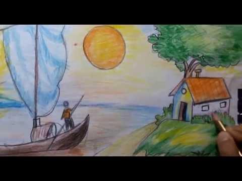 صورة رسم منظر طبيعي سهل للاطفال , تعلم الرسم للاطفال