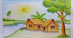 رسم منظر طبيعي , اسهل طريقه لرسم منظر طبيعى
