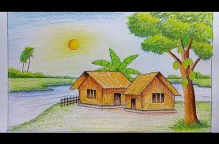 صورة رسم منظر طبيعي , اسهل طريقه لرسم منظر طبيعى